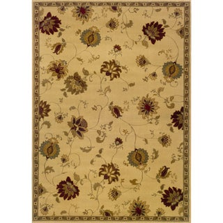 Indoor Floral Ivory/ Green Rug (10' x 13')