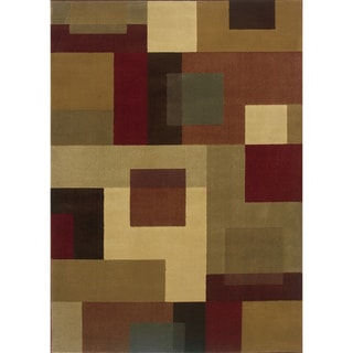 Indoor Geometric Red/ Tan Rug (9'10 x 12'9)