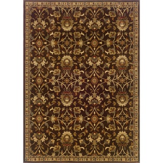 Indoor Floral Brown/ Beige Rug (9'10 x 12'9)