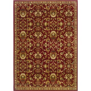 Indoor Floral Red/ Ivory Rug (9'10 x 12'9)