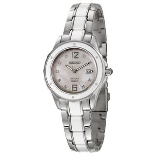 Seiko Women's 'Coutura' Silvertone/Ceramic Mother of Pearl Dial Watch