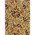 Indoor Floral Ivory/ Green Rug (9'10 x 12'9)