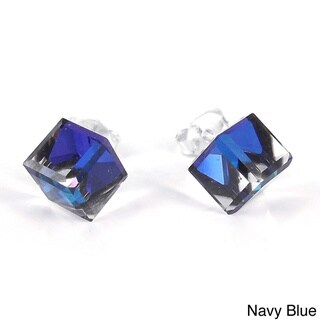 Crystal Prism Cube .925 Sterling Silver Post Earrings (Thailand)