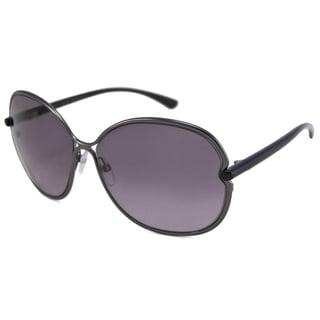 Tom Ford Women's TF0222 Leila Rectangular Gunmetal Sunglasses