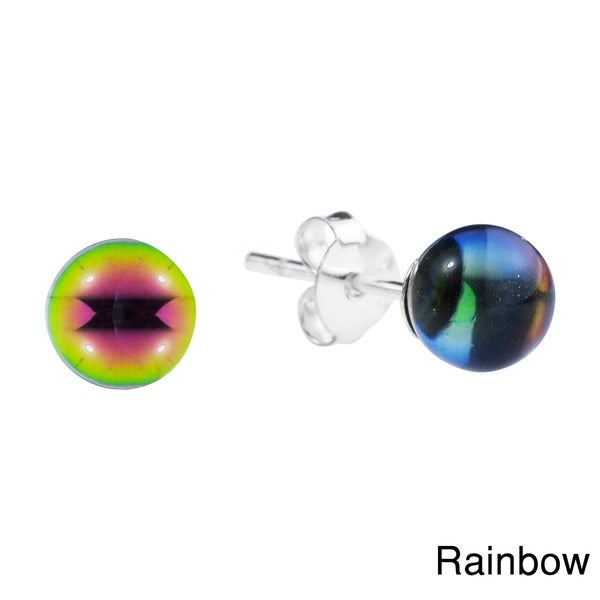 Crystal Round Ball Sterling Silver Post Earrings (Thailand) 10651403