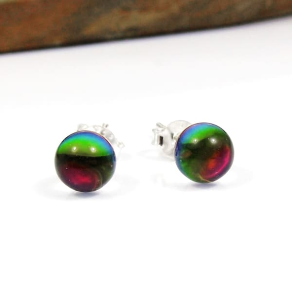 Round Crystal Silver Stud Earrings Rainbow Set 22