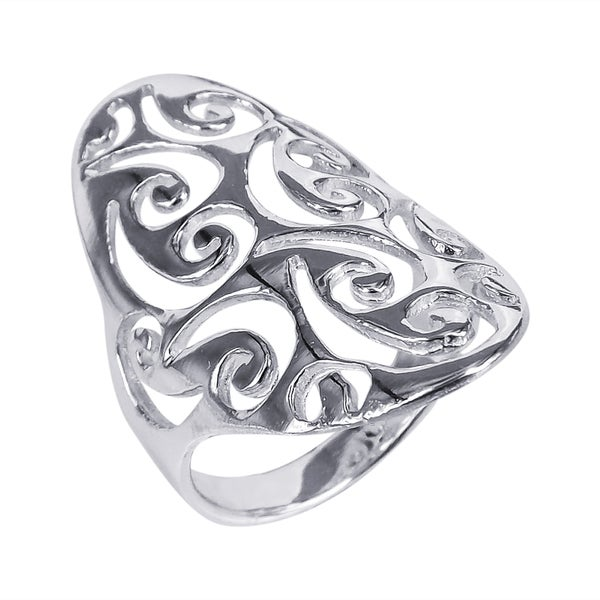 Big Oval Front Swirl Design .925 Sterling Silver Ring (Thailand)
