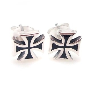 Solid Maltese Iron Cross Enamel Sterling Silver Earrings (Thailand)