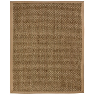 Windjammer Basketweave Seagrass Rug with Khaki Cotton Border (9 x 12)