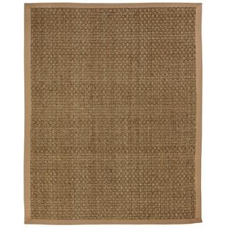 Windjammer Basketweave Seagrass Rug with Khaki Cotton Border (9 x 12)
