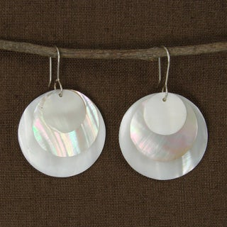 Handcrafted Layered Spheres Mother of Pearl Earrings (Indonesia)