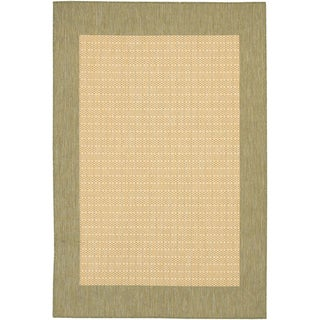 Recife Checkered Natural/ Green Rug (5'10 x 9'2)