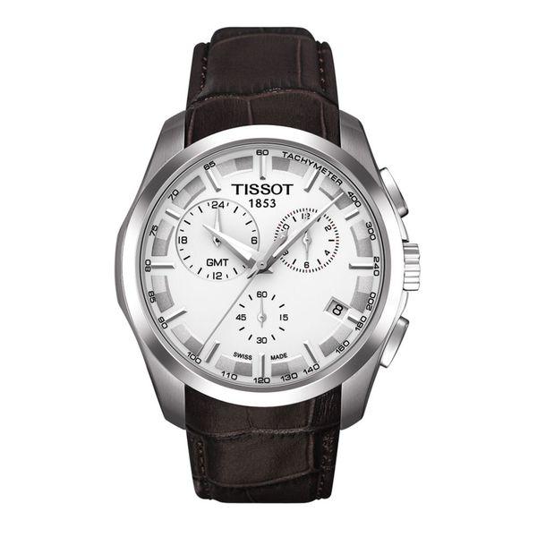 Tissot Men's 'Couturier' Silvertone/ Brown Watch