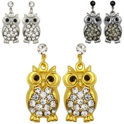 Kate Marie Rhinestone Owl Design Fashion Earrings