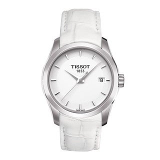 TIssot Women's 'Couturier' White Leather Strap Trend Watch
