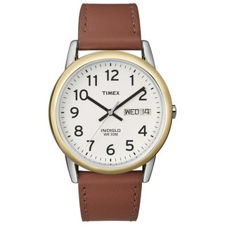 Timex T200119J Men's Easy Reader Brown Leather-Strap Quartz Watch
