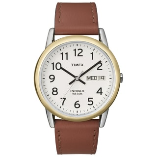Timex Men's Easy Reader Brown Leather-Strap Quartz Watch