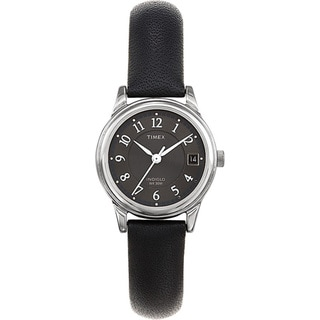Timex Women's Elevated Classics Dress Black Leather Strap Watch