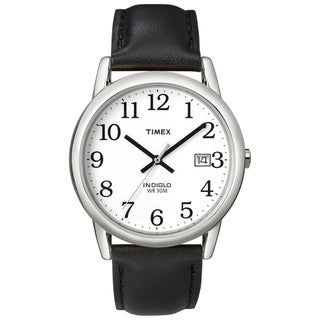 Timex Men's Easy Reader Silvertone Case Black Leather Strap Watch