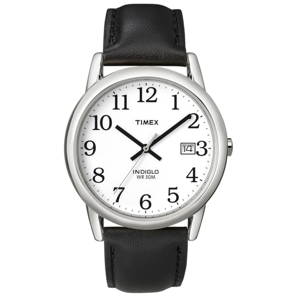 Timex T2H2819J Men's Easy Reader Silvertone Case Black Leather Strap Watch