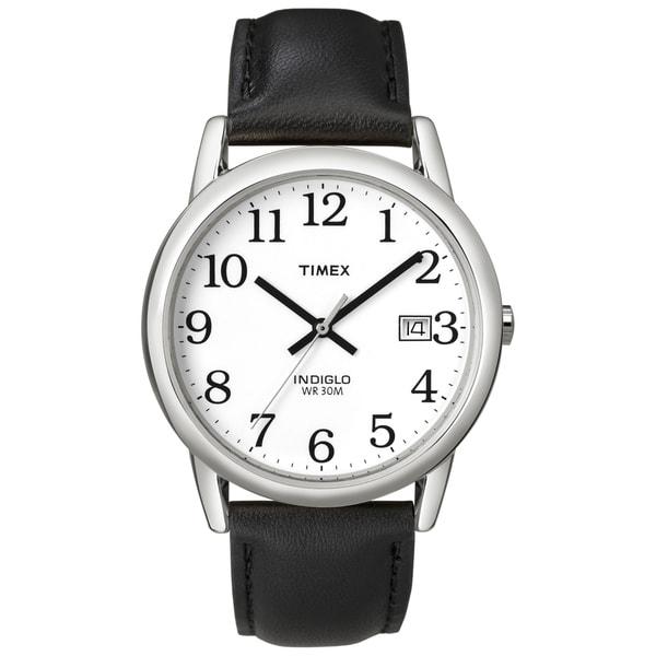 Timex T2H2819J Men's Easy Reader Silvertone Case Black Leather Strap Watch 10651488