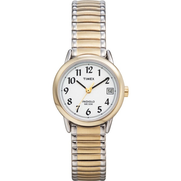 Timex T2H4919J Women's Easy Reader Two-tone Steel Expansion Band Watch - WHITE/black 10651492