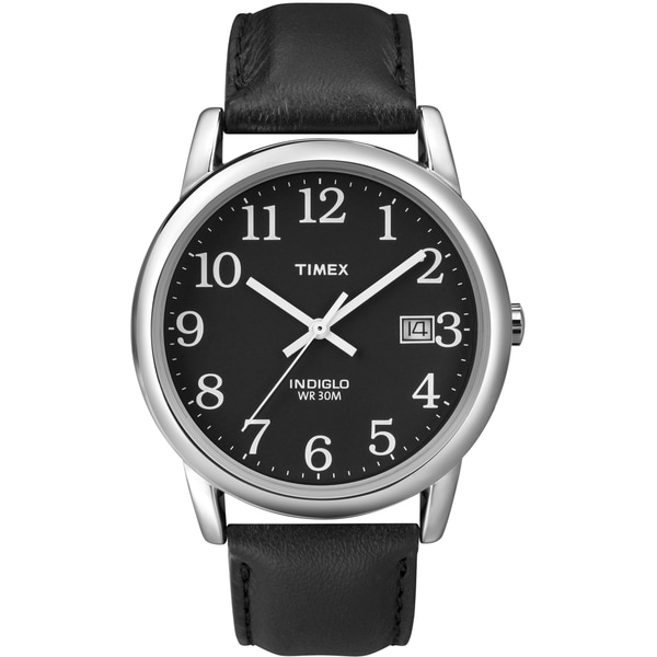 Timex T2N3709J Men's Easy Reader Black Leather Strap Watch