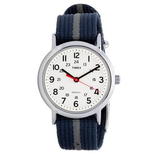 Timex Unisex T2N654 Weekender Blue/Grey Stripe Slip Thru Nylon Strap Watch