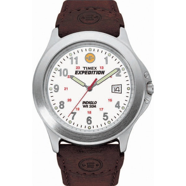 Timex T443819J Men's Expedition Metal Field Brown Leather Strap Watch