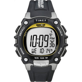 Timex Men&#39;s Ironman Traditional 100-Lap Black/ Silvertone/ Yellow Watch