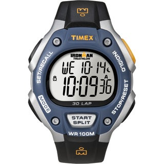 Timex Men's Ironman Traditional 30-Lap Black/ Silvertone/ Blue Watch