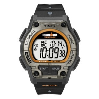 Timex Men's Ironman Classic Shock 30-Lap Black/ Orange Resin Strap Watch