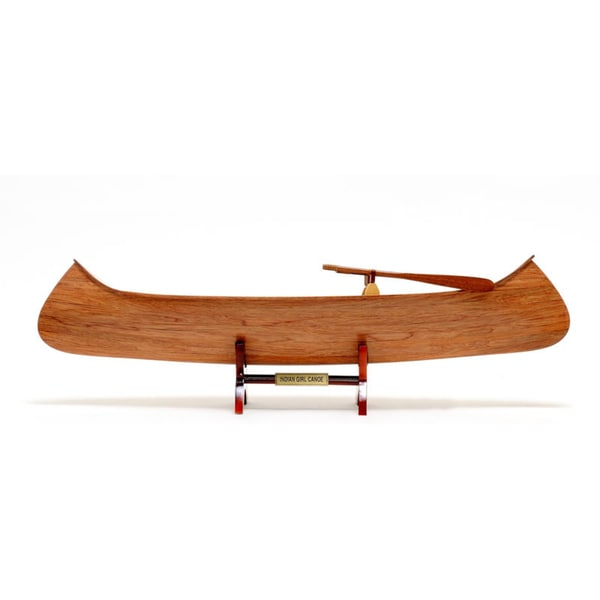 Old Modern Handicrafts Indian Girl Canoe Model Boat 10651575