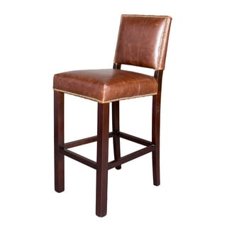 Villa Faux Leather Worn Brown Counter Stools Set Of 2