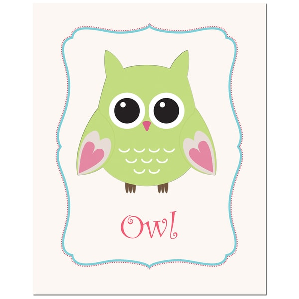 Lime Green Solid Color Owl in Frame Art Print