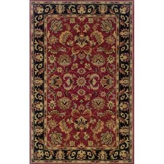 Indoor Red/ Black Wool Area Rug (9'6 x 13'6)