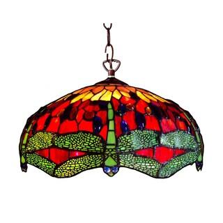 Tiffany-style Dragonfly 2-light Pendant