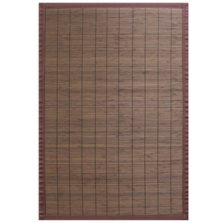 Espresso Bamboo Rug with Brown Border (6' x 9')