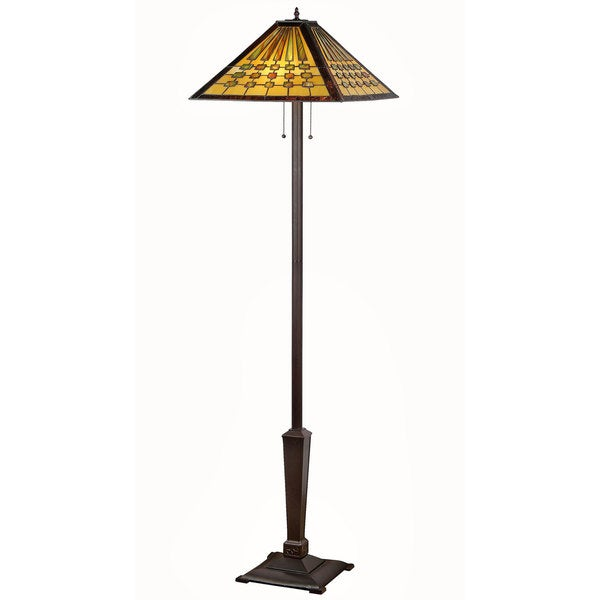 tiffany style mission design double lit 2 1 light bronze table lamp. Black Bedroom Furniture Sets. Home Design Ideas