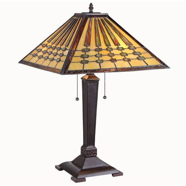 Chloe Mission Design 2-light Black Table Lamp