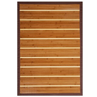 Teak and Holly Bamboo Rug with Brown Border (6' x 9')