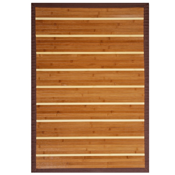 Teak and Holly Rayon from Bamboo Rug with Brown Border (6' x 9')