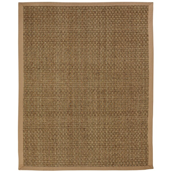 Windjammer Basketweave Seagrass Rug with Khaki Cotton Border (3 x 5)
