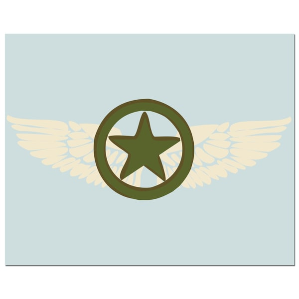 Pilot Wings with Army Green Star Art Print