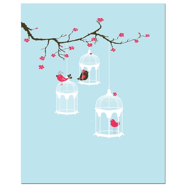 Tree Blossom Bird Cages Art Print
