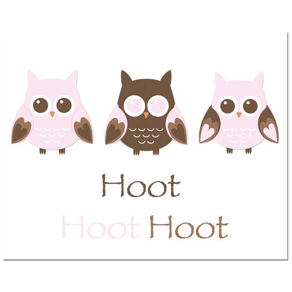 Pink Owl Trio Hoot Art Print