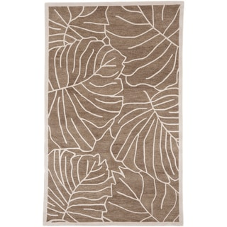 Hand-tufted Leaf Stencil New Zealand Wool Rug (9' x 13')