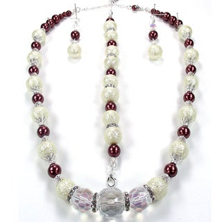 Silverplated Cherry Chocolate Cream Bumpy Glass Pearl and Clear AB Crystal Jewelry Set