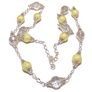 Silverplated Cream Bumpy Glass Pearls and Clear Crystals Wedding Jewelry Set
