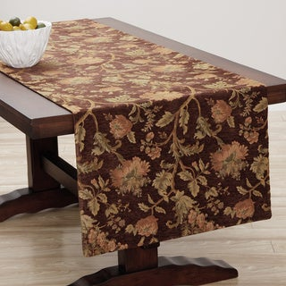 Extra Wide Italian Woven Rust Floral Table Runner 95 x 26 inches